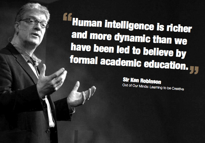 "Picture of Ken Robinson with caption saying, ""Human Intelligence is richer and more dynamic than we have been led to believe by formal academic education."""