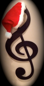 My treble clef from Pottery Barn decked out for the season.